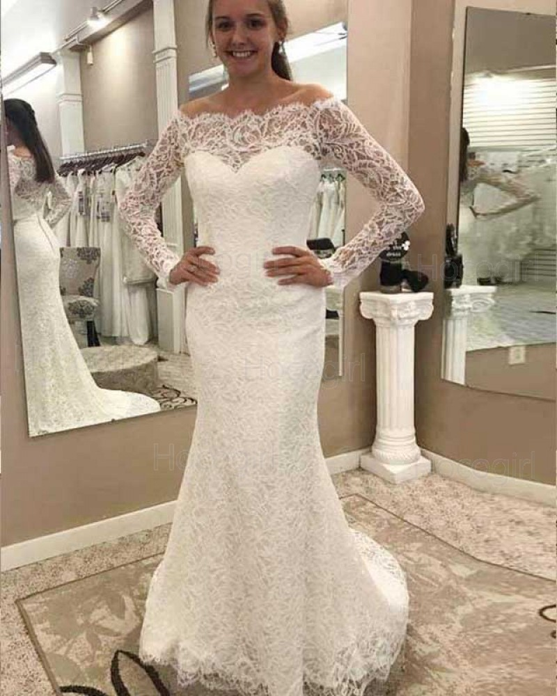Shop Off The Shoulder Long Sleeve Mermaid Style Vintage Wedding Dress From Hocogirl Com