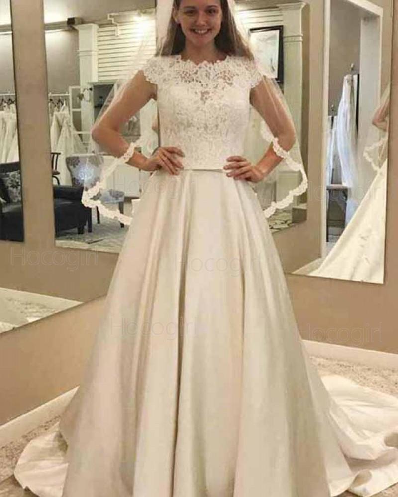 High Neck Lace Bodice Ivory Satin Pleated Fall Wedding Dress WD2139