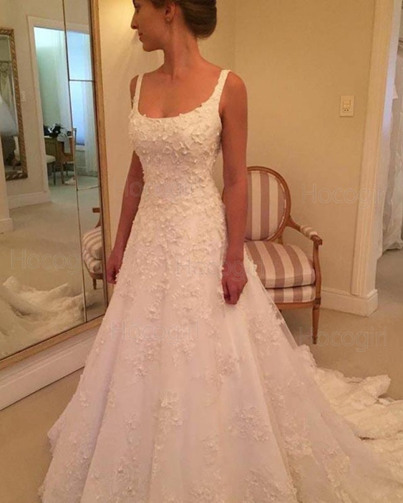 Shop gorgeous square 20d flower appliqued white wedding dress from ...