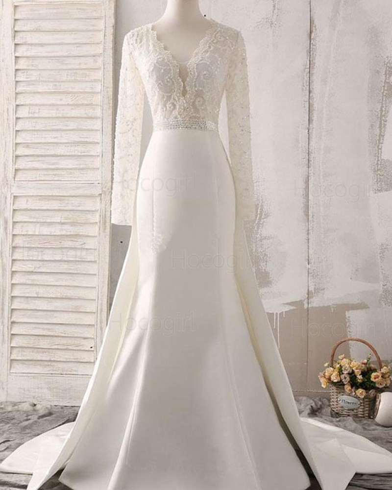Deep V-neck White Lace Bodice Satin Fall Wedding Dress with Long Sleeves WD2161