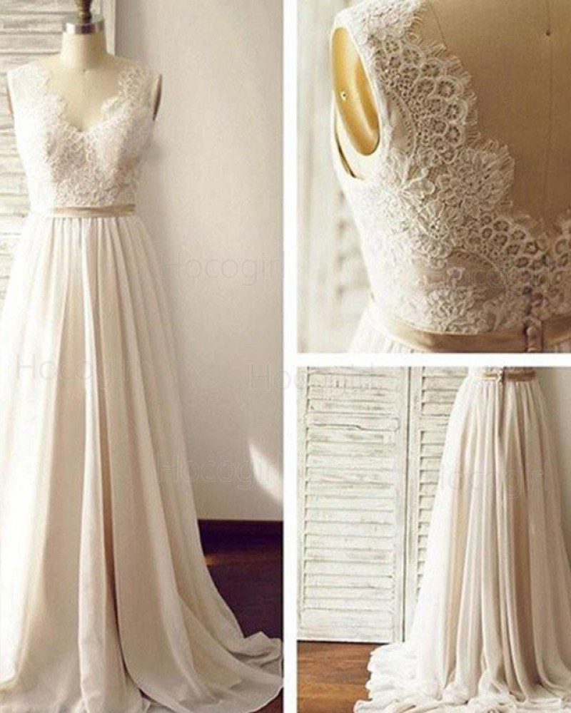 V-neck Lace Bodice Pleated Chiffon Wedding Dress WD2171