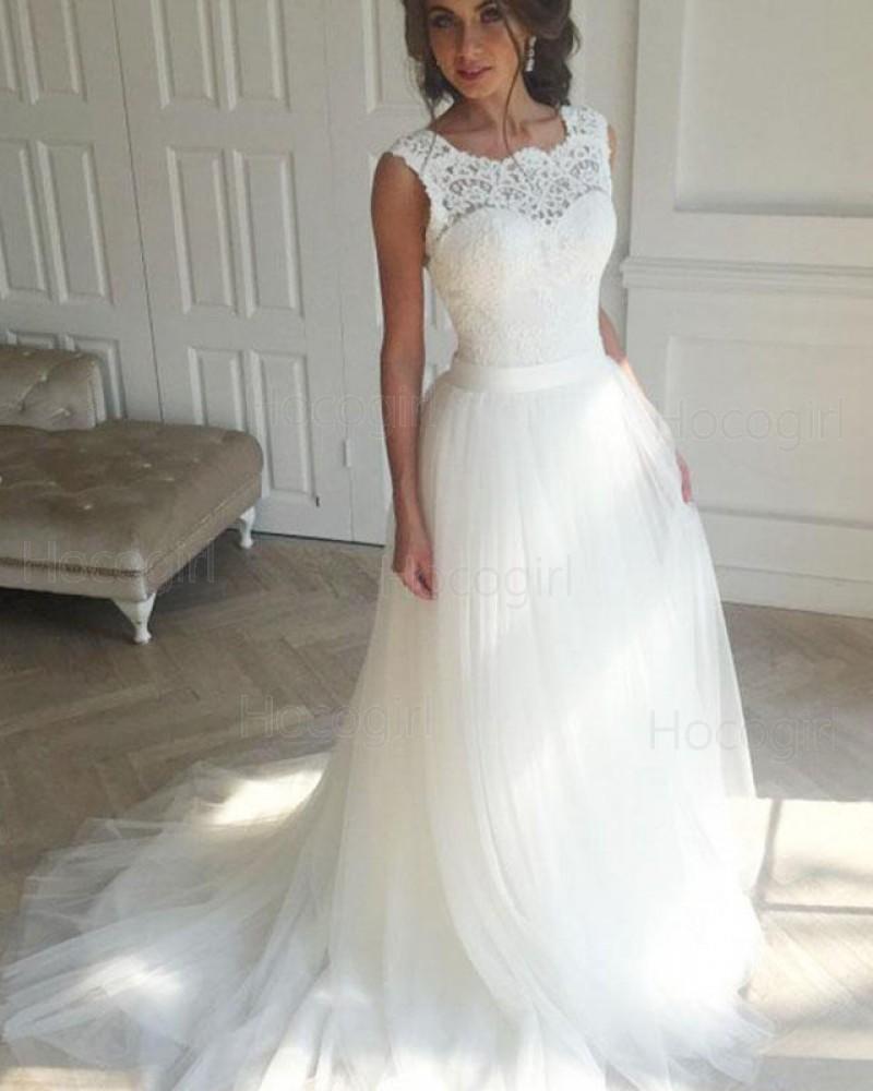 Elegant Scoop Lace Bodice White Tulle Wedding Dress WD2172
