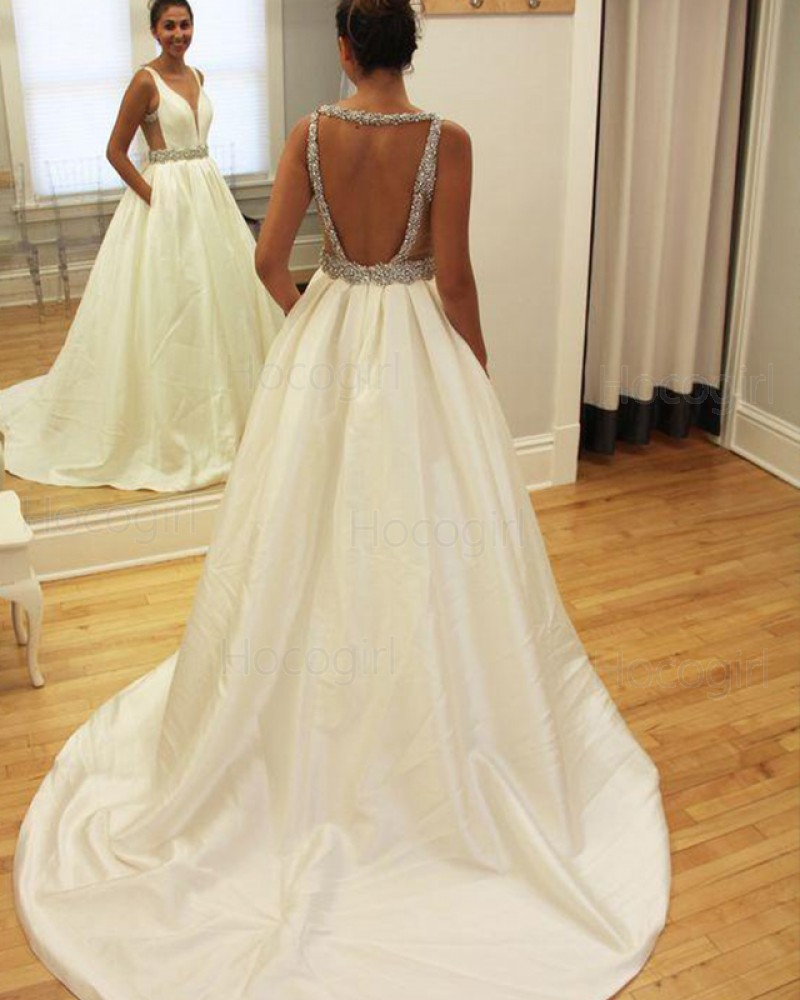 Simple Deep V-neck Satin Beading Wedding Gown with Pockets WD2186