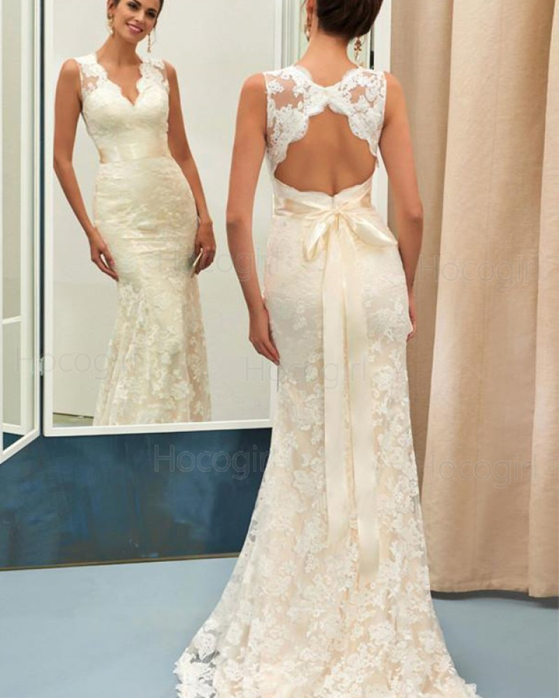 V-neck Ivory Lace Mermaid Vintage Wedding Dress with Bowknot WD2190
