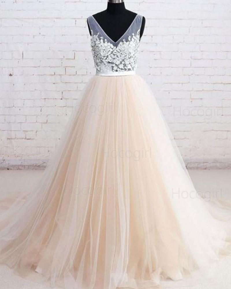 V-neck Lace Applique Champagne Tulle Wedding Dress WD2204
