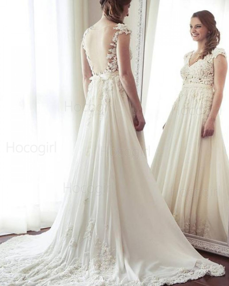 V Neck Lace Lique A Line Wedding Dress With Cap Sleeves