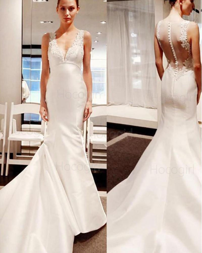 Simple Ivory V-neck Applique Satin Mermaid Wedding Dress WD2210