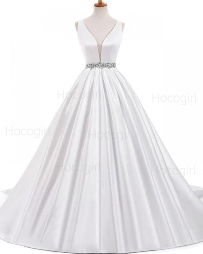Deep V-neck Ivory Satin Pleated Wedding Dress with Beading Belt WD2234