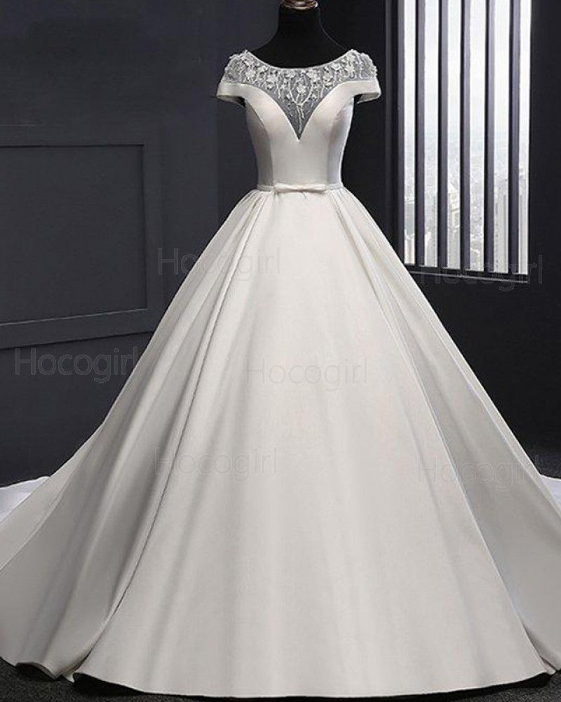 Gorgeous Jewel Lace White Bodice Satin Fall Wedding Dress WD2252