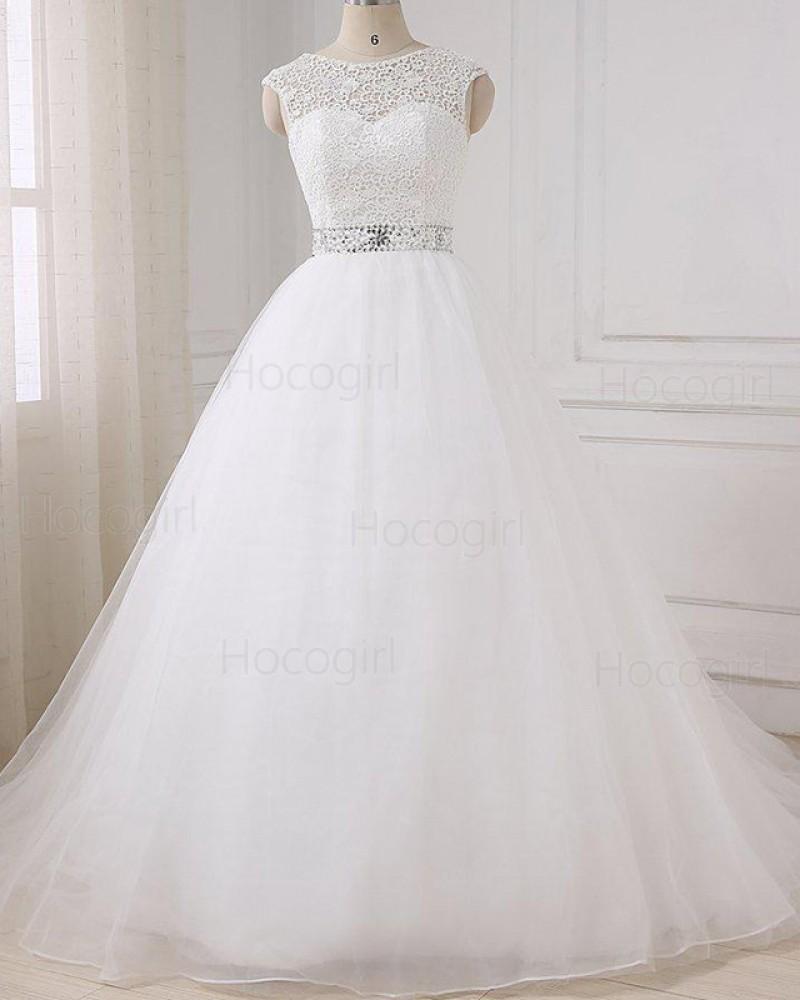 Jewel Lace Bodice White Tulle Wedding Dress with Beading Belt WD2268