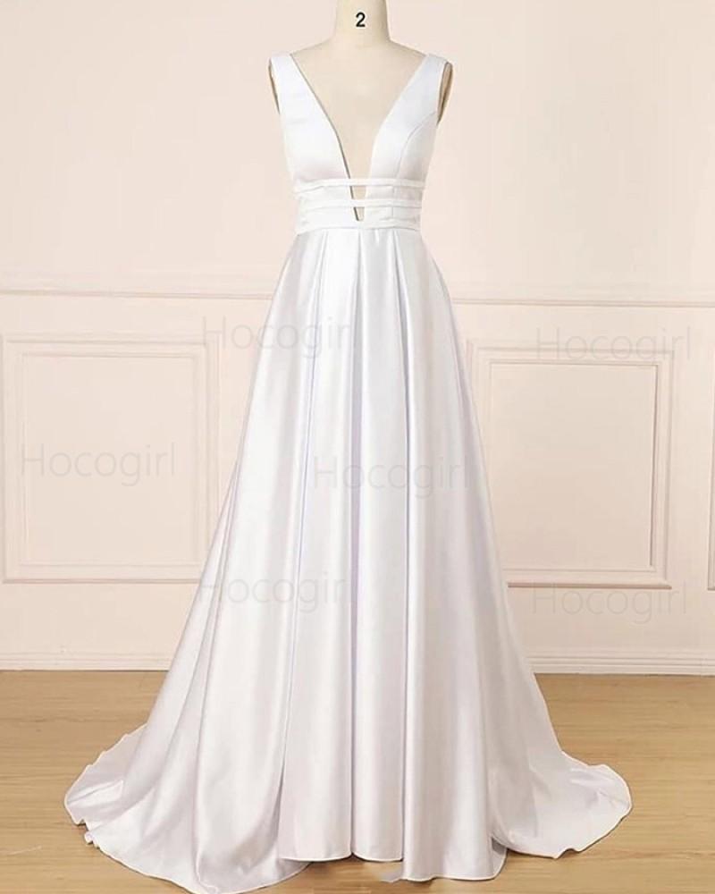 Deep V-neck Satin Ivory Cutout Pleated Wedding Dress WD2273