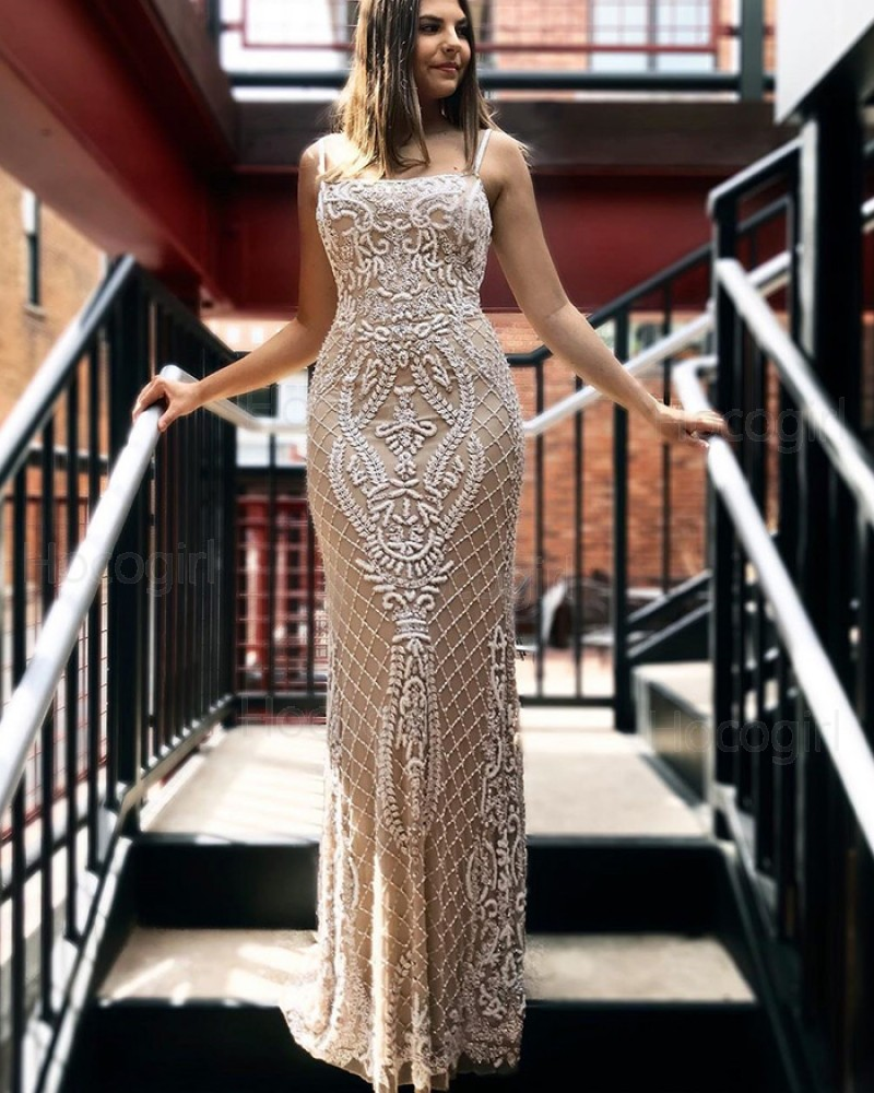 Spaghetti Straps Champagne Beading Mermaid Wedding Dress WD2279