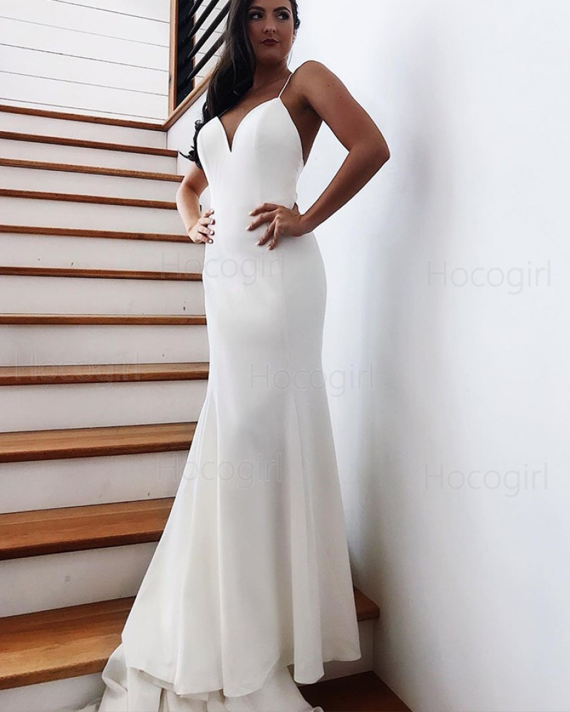 spaghetti straps simple white mermaid wedding dress with bowknot wd2281