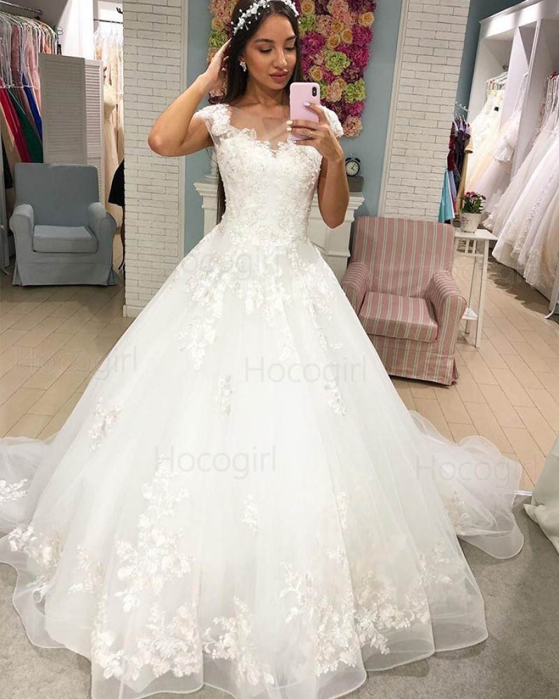 Scoop Lace Liqued White Ball Gown Wedding Dress Wd2290