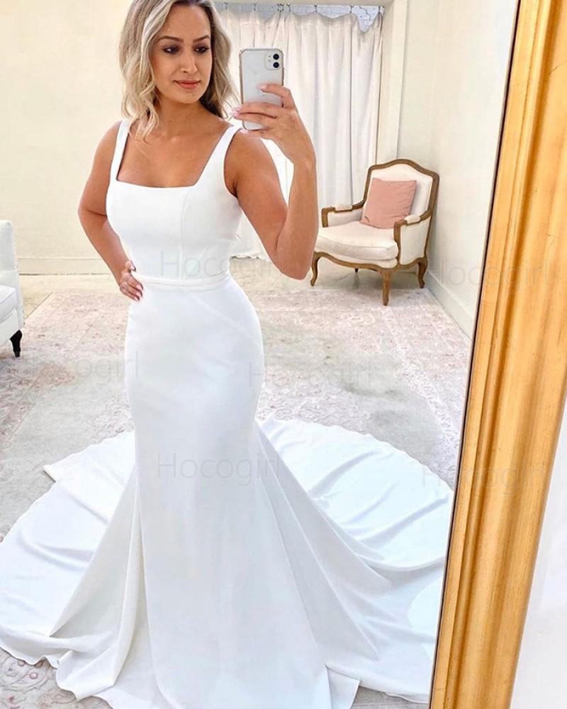 Simple Square Neckline White Mermaid Wedding Dress