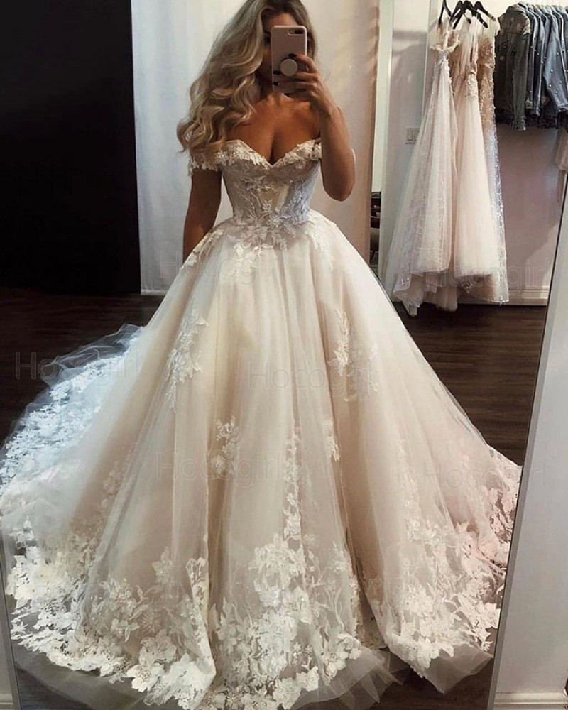Off the Shoulder Lace Applique Tulle Ivory Wedding Dress