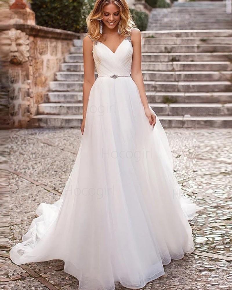 Simple V-neck White Ruched Tulle Beading Wedding Dress