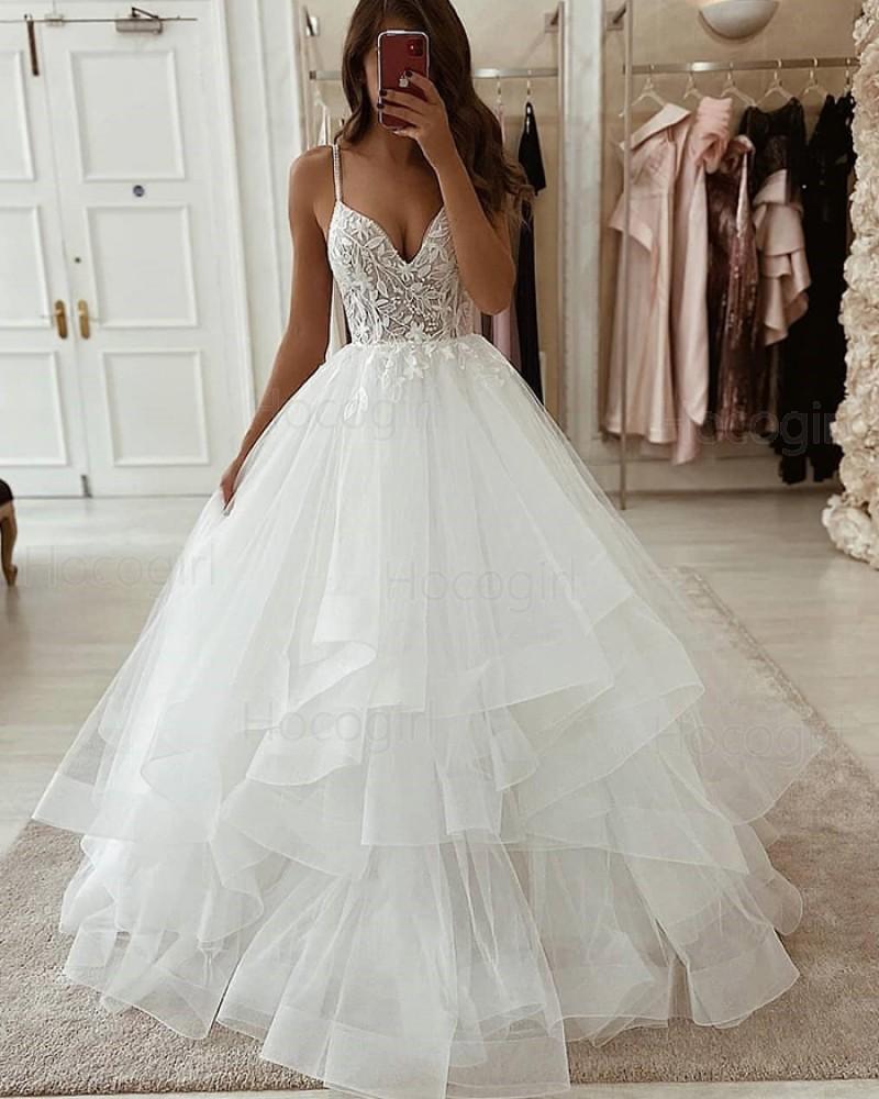 Spaghetti Straps Ivory Lace Bodice Ruffled Wedding Dress