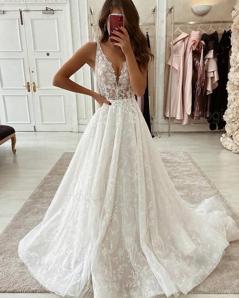 V-neck Ivory Pleated Lace Wedding Dress