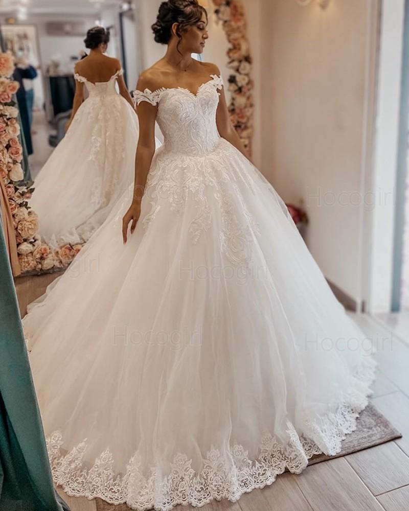 Off the Shoulder White Lace Applique Tulle A-line Wedding Dress WD2400