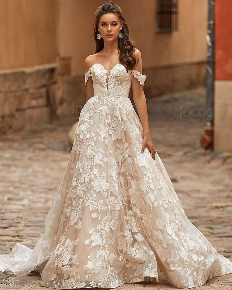 Vintage Off the Shoulder Lace Ivory A-line Wedding Dress WD2402