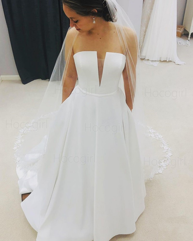 Simple White Strapless Satin Wedding Dress with Pockets WD2406