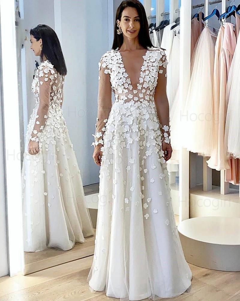 Jewel Neck White Long Sleeve A-line Wedding Dress with Handmade Flowers WD2407