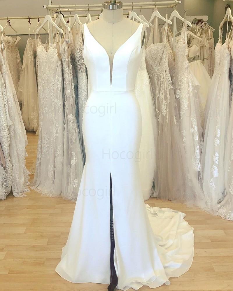 Simple White V-neck Satin Mermaid Wedding Dress with Middle Slit WD2409