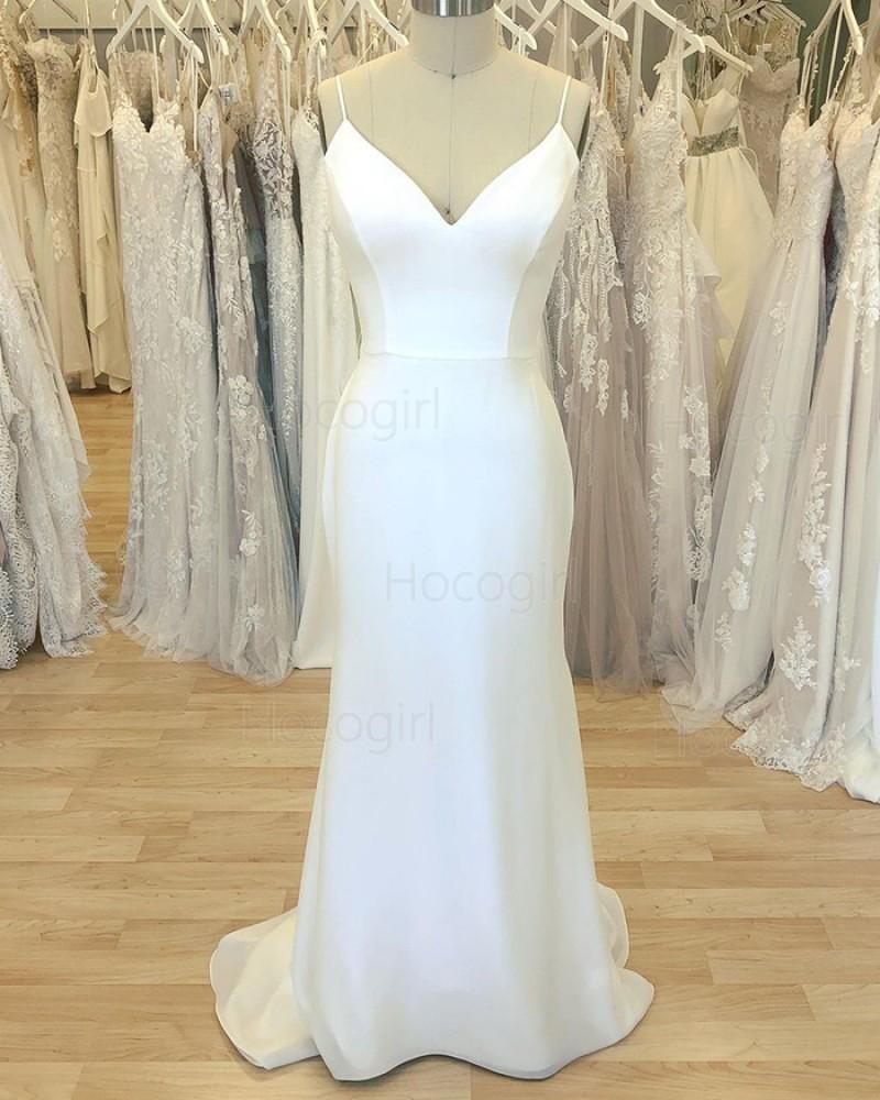 Simple White Spaghetti Straps Sheath Wedding Dress for Spring WD2410