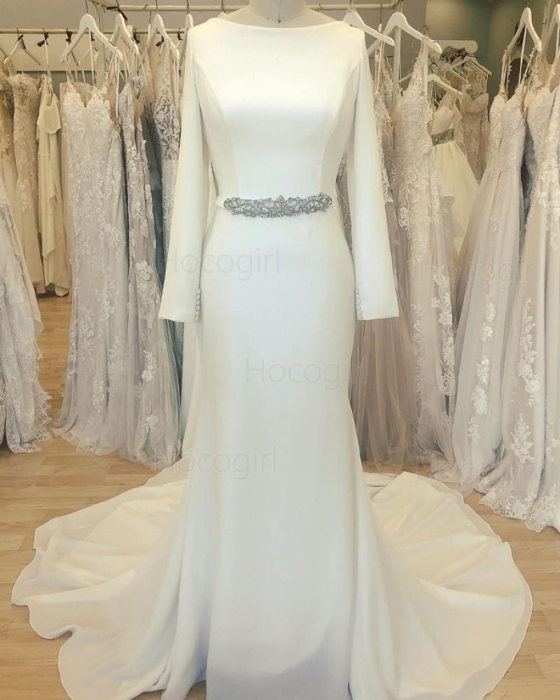 Simple Bateau Neckline White Satin Sheath Wedding Dress with Long Sleeves WD2412