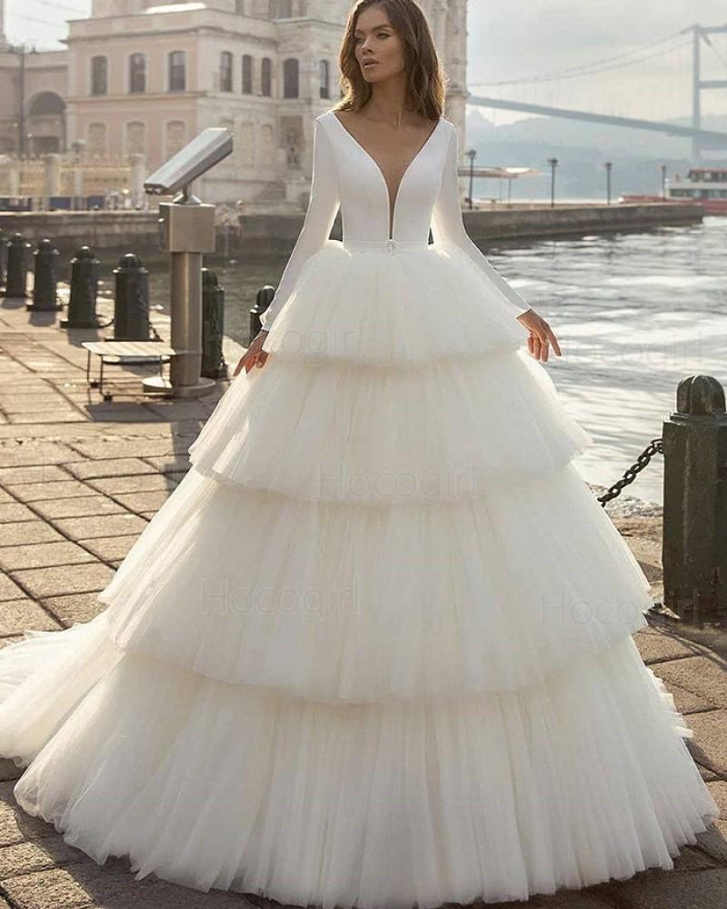 Simple White V-neck Ruffle Long Sleeve Wedding Dress with Layered Skirts WD2413