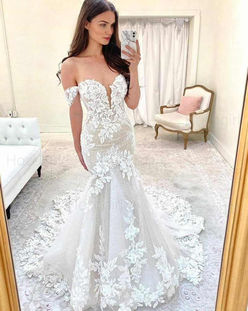 Off the Shoulder Ivory Lace Mermaid Wedding Dress with Court Train WD2414