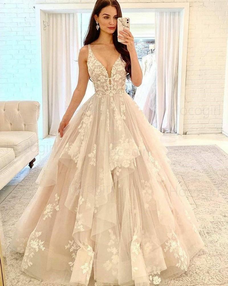 V-neck Ivory Ruffle Lace Applique Tulle Wedding Dress WD2415