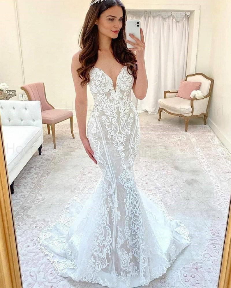 White Spaghetti Straps Lace Mermaid Wedding Dress with Court Train WD2421