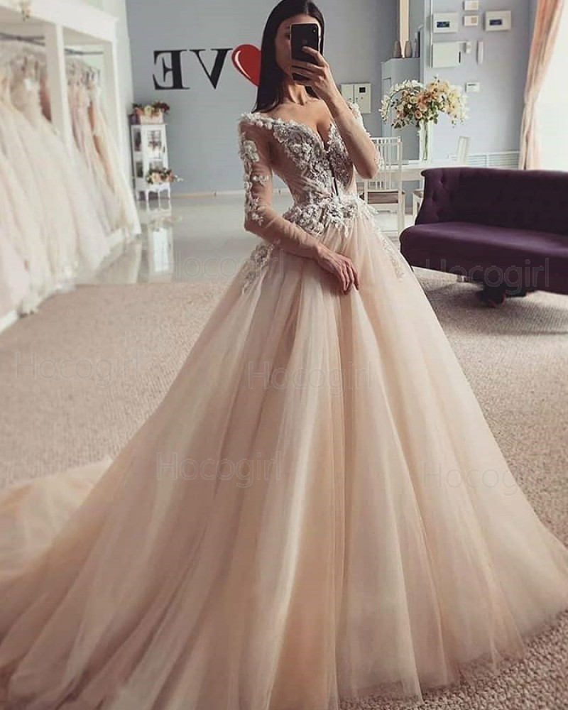 V-neck Champagne Beading Lace Bodice Wedding Dress with Long Sleeves WD2423