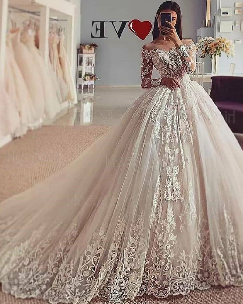 Sheer Neckline White Lace Tulle Ball Gown Wedding Dress with Long Sleeves WD2426