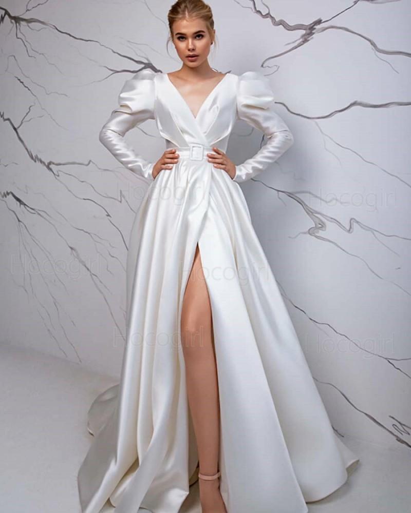 Vintage Simple V-neck Satin White Long Sleeve Wedding Dress with Slit WD2428
