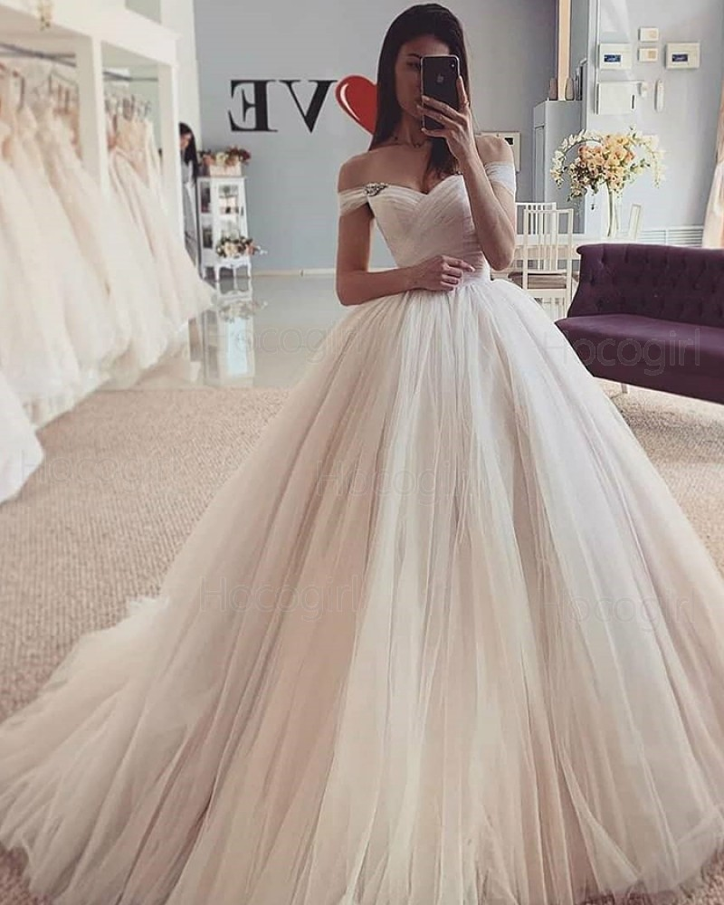 Simple Off the Shoulder Ivory Tulle Pleated Wedding Dress WD2429