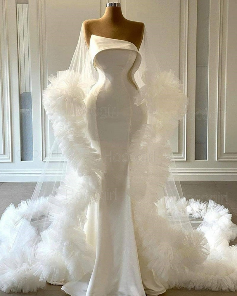 Cowl Neckline Bell Sleeves White Tulle Mermaid Wedding Dress with Feather Hems WD2441