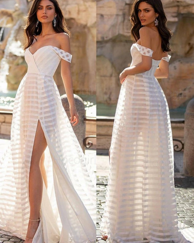 Simple White V-neck Strip Tulle Beach Wedding Dress with Side Slit WD2448