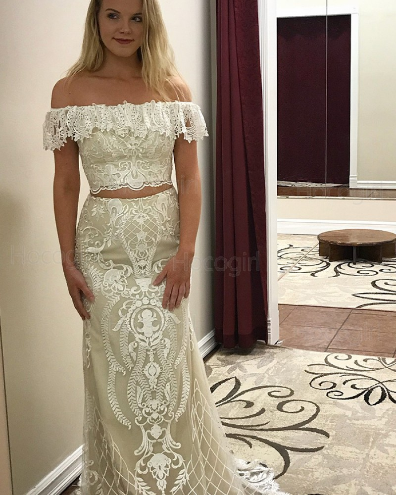 Off the Shoulder Ivory Lace Two Piece Prom Dress pd1507