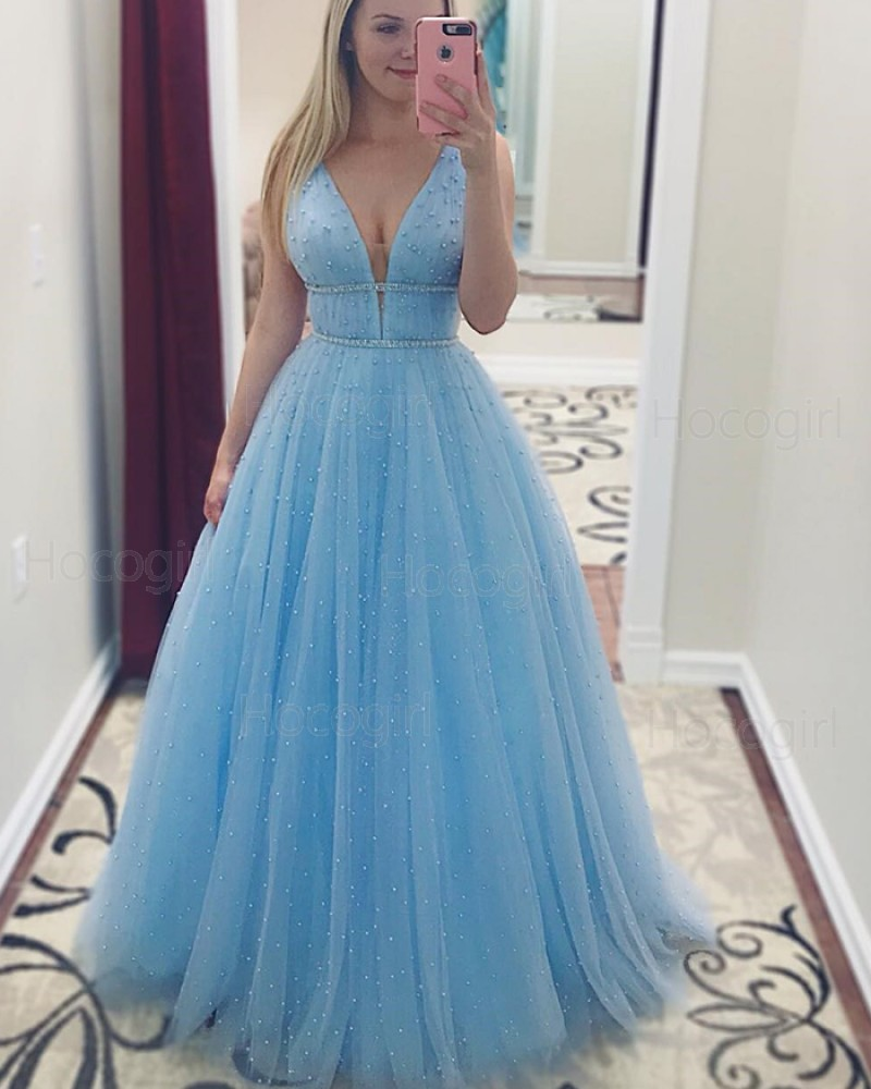 Beading Light Blue Deep V-neck Tulle Pleated Prom Dress pd1514