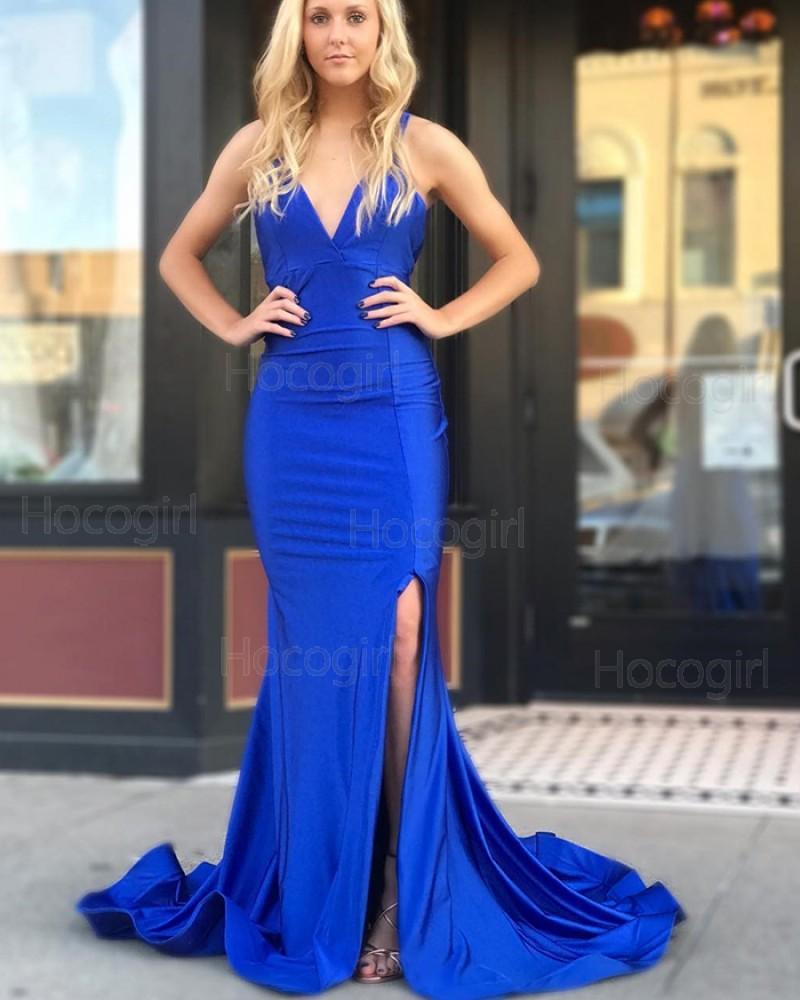 Simple V-neck Royal Blue Mermaid Satin Prom Dress with Side Slit pd1518