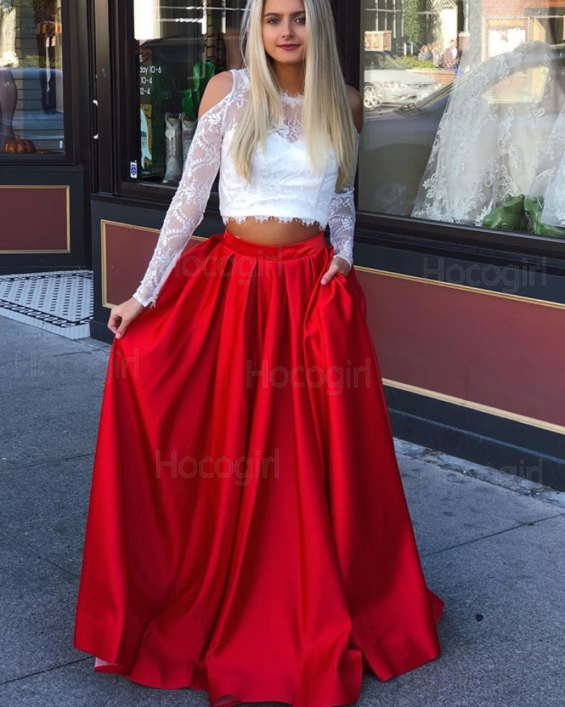 Jewel Two Piece Long Sleeve Lace Bodice Prom Dress with Red Skirt pd1521