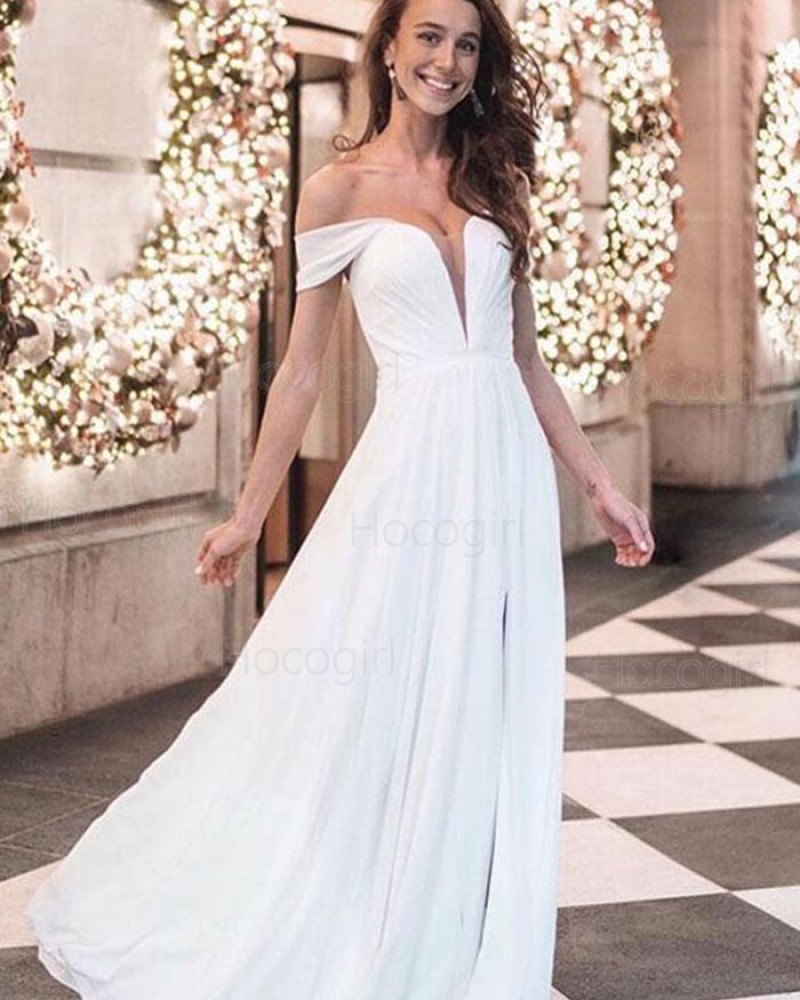 Off the Shoulder White Chiffon Prom Dress with Side Slit pd1523
