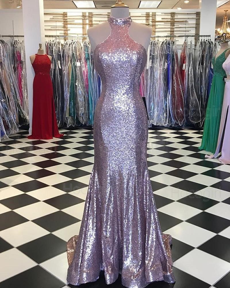 Elegant High Neck Metallic Rose Gold Mermaid Pleated Prom Dress pd1526