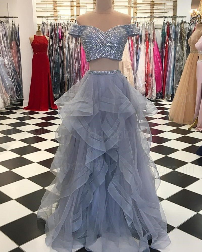 Two Piece Grey Off the Shoulder Sequin Pattern Bodice Prom Dress with Ruffled Skirt pd1527