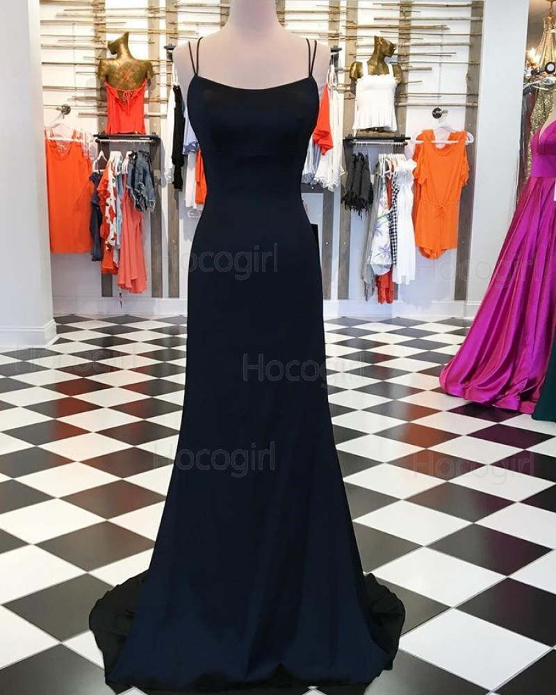 Simple Double Spaghetti Straps Black Prom Dress with Crisscross Back pd1545