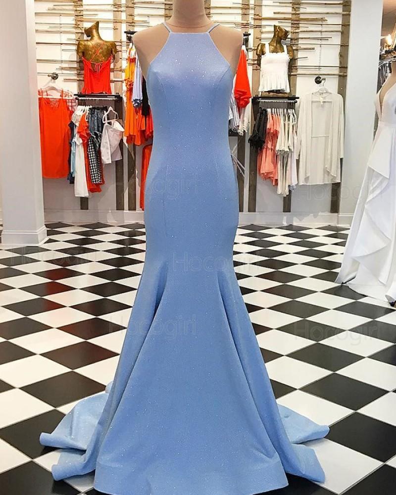 Spaghetti Straps Sparkle Sky Blue Mermaid Prom Dress pd1547