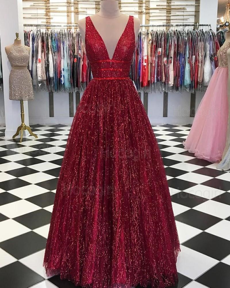 Deep V-neck Sparkle Pleated Long Prom Dress pd1550